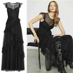 BCBG MAX AZRIA Romantic Lace Black Ruffle Gown